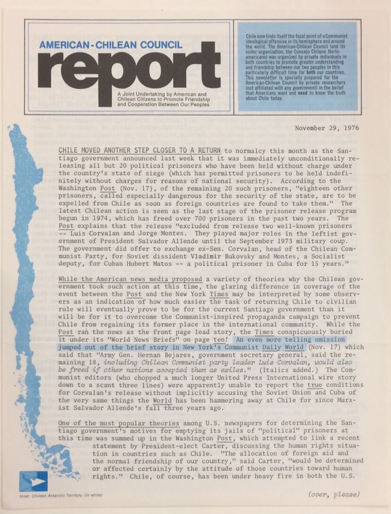 American-Chilean Council Report. Nov. 29, 1976