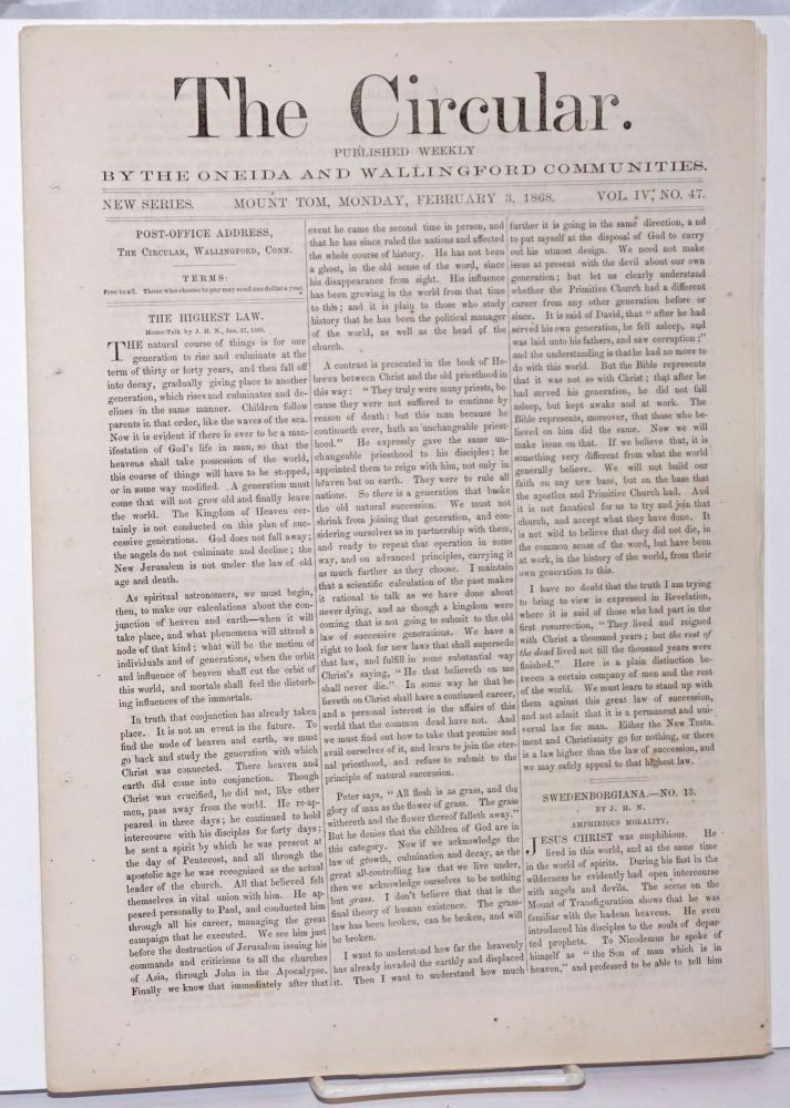 The Circular: Published Weekly by the Oneida and Wallingford Communities; Vol. 4, No. 47, Monday, February 3, 1868