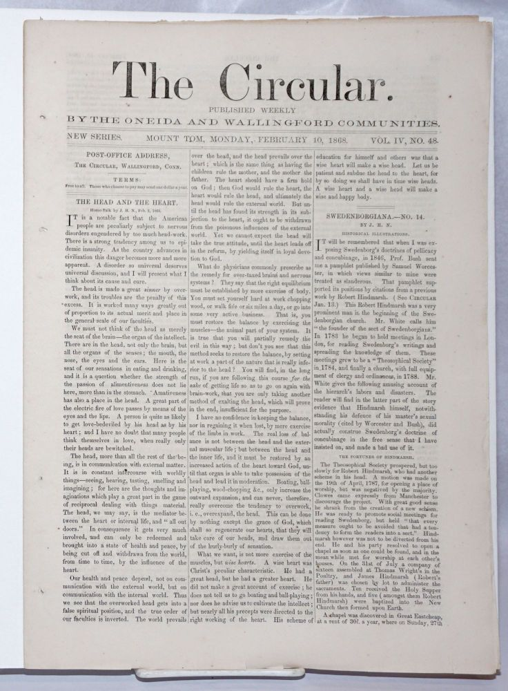 The Circular: Published Weekly by the Oneida and Wallingford Communities; Vol. 4, No. 48, Monday, February 10, 1868