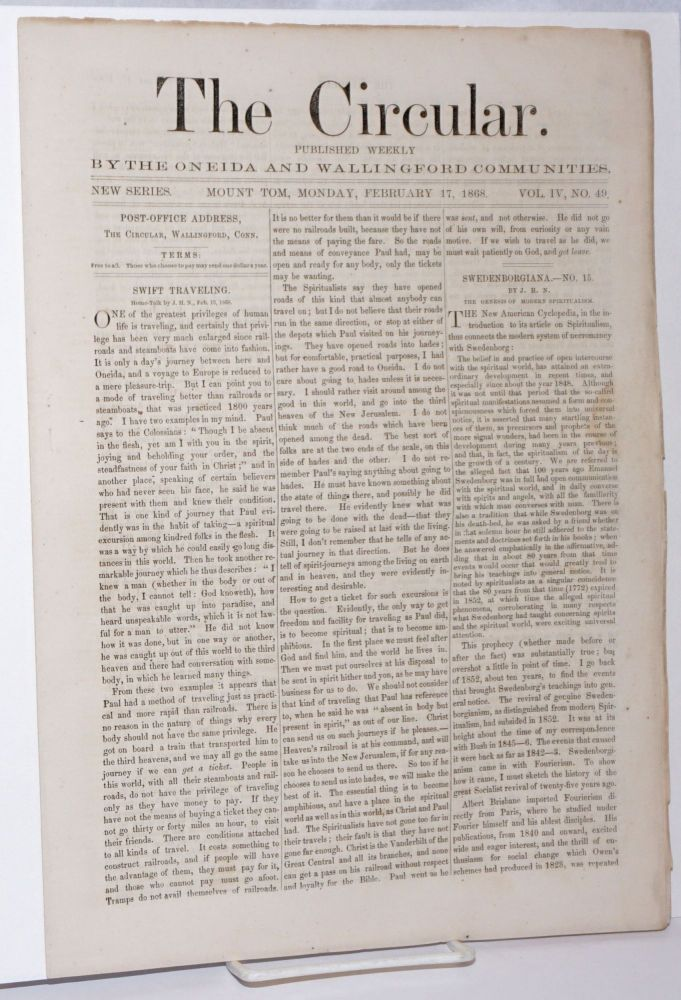 The Circular: Published Weekly by the Oneida and Wallingford Communities; Vol. 4, No. 49, Monday, February 17, 1868