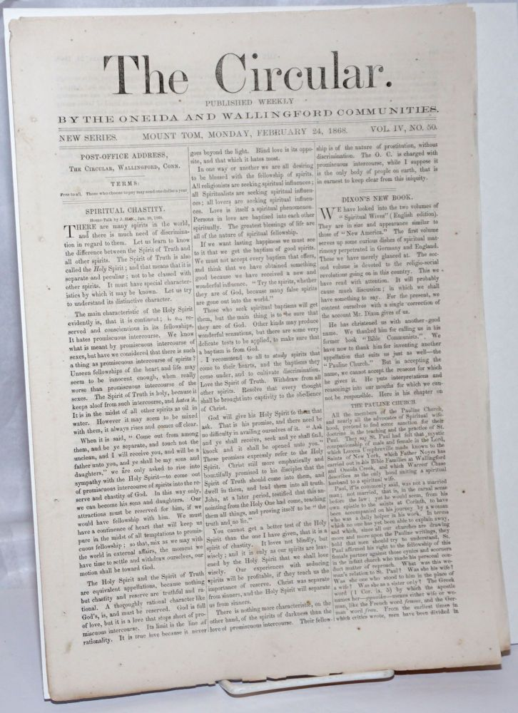 The Circular: Published Weekly by the Oneida and Wallingford Communities; Vol. 4, No. 50, Monday, February 24, 1868