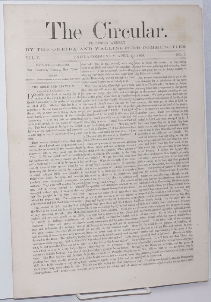 The Circular: Published Weekly by the Oneida and Wallingford Communities; Vol. 5, No. 5, April 20, 1868