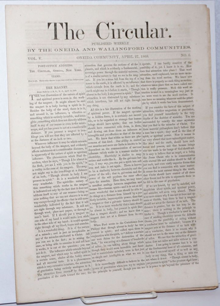 The Circular: Published Weekly by the Oneida and Wallingford Communities; Vol. 5, No. 6, April 27, 1868