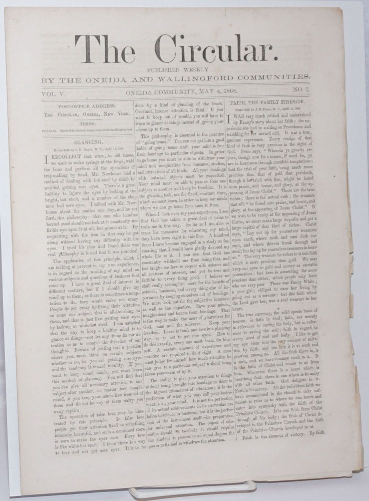 The Circular: Published Weekly by the Oneida and Wallingford Communities; Vol. 5, No. 7, May 4, 1868