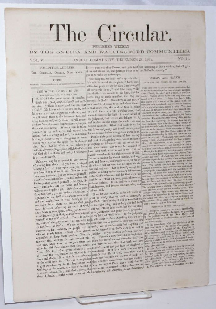 The Circular: Published Weekly by the Oneida and Wallingford Communities; Vol. 5, No. 41, December 28, 1868
