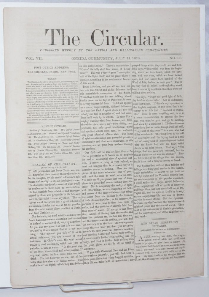 The Circular: Published Weekly by the Oneida and Wallingford Communities; Vol. 7, No. 17, July 11, 1870
