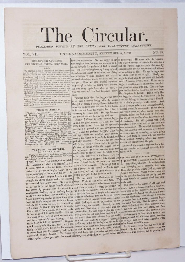 The Circular: Published Weekly by the Oneida and Wallingford Communities; Vol. 7, No. 25, September 5, 1870