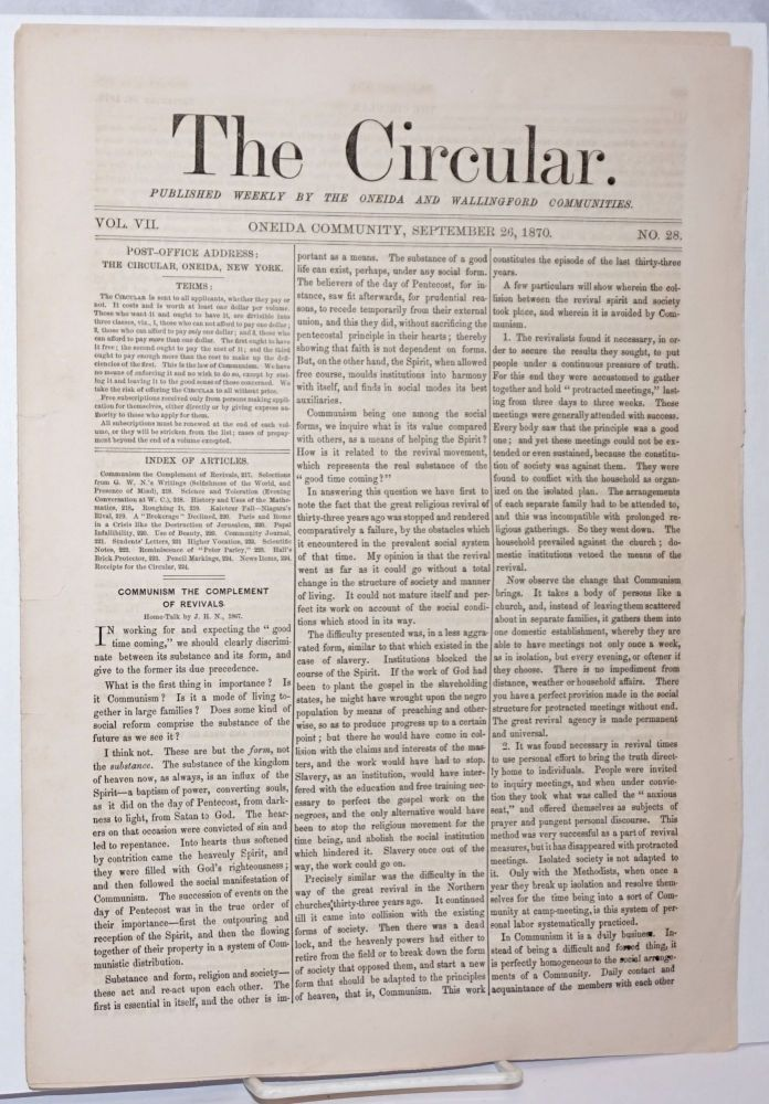The Circular: Published Weekly by the Oneida and Wallingford Communities; Vol. 7, No. 28, September 26, 1870