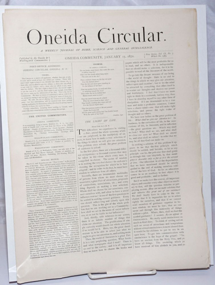Oneida Circular: A Weekly Journal of Home Science and General Intelligence New Series Vol. 9, No. 3, Whole No. 1389, January 15, 1872. A. Hinds, illiam.