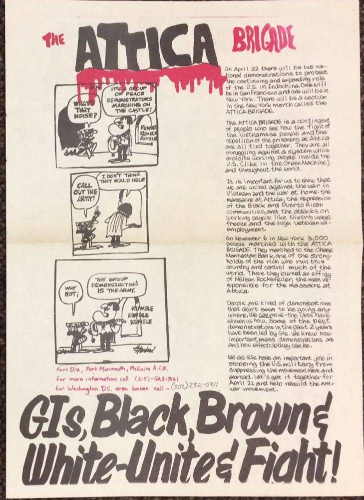 The Attica Brigade / GIs, Black, Brown & White - Unite & Fight! [broadsheet]