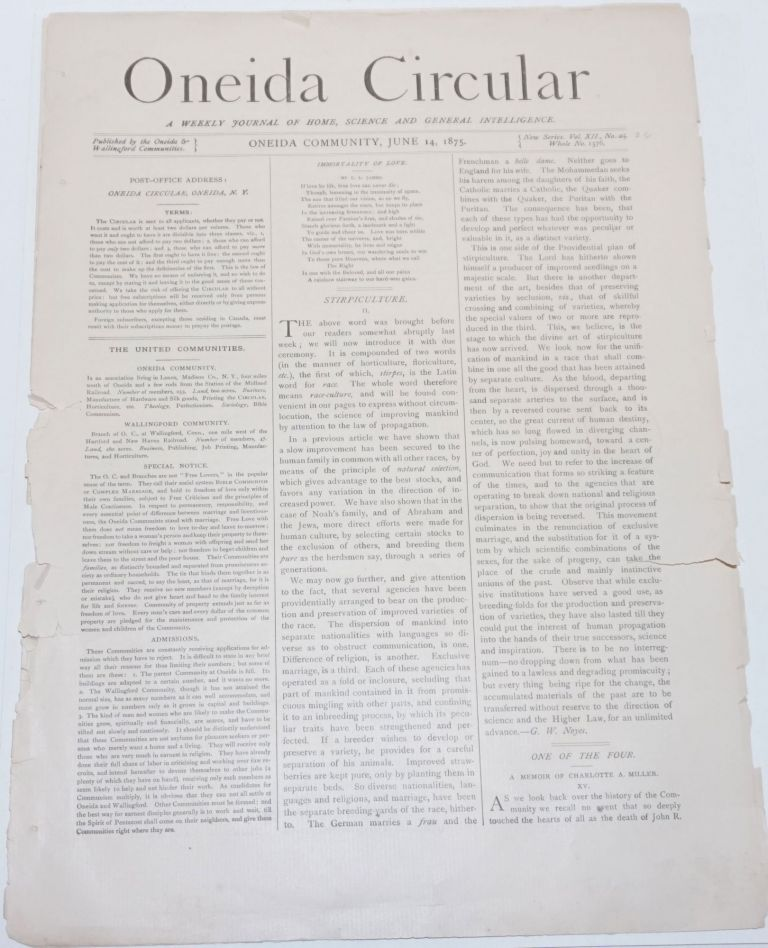 Oneida Circular: A Weekly Journal of Home, Science and General Intelligence New Series Vol. 12, No. 25, Whole No. 1576, June 14, 1875. Harrie M. Worden.