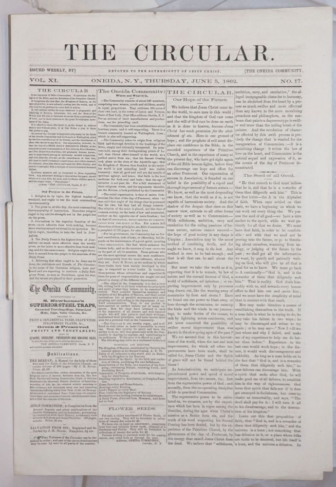 The Circular: Devoted to the Sovereignty of Jesus Christ; Vol. 11, No. 17, Thursday June 5, 1862