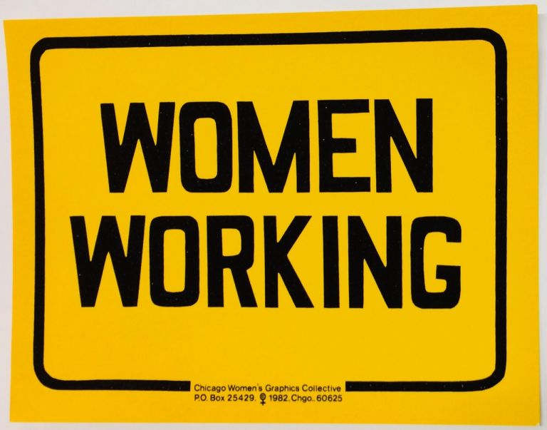 Women Working [sign on card]
