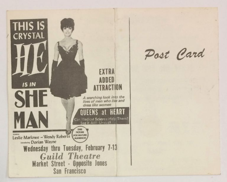 """This is Crystal. HE is in She Man [postcard with """"Gender Authentication Test"""" on other side]"""