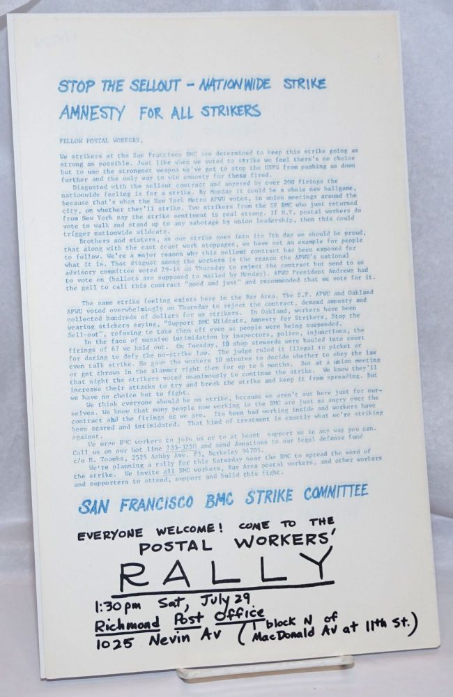 Stop the sellout - Nationwide strike. Amnesty for all strikers [handbill]