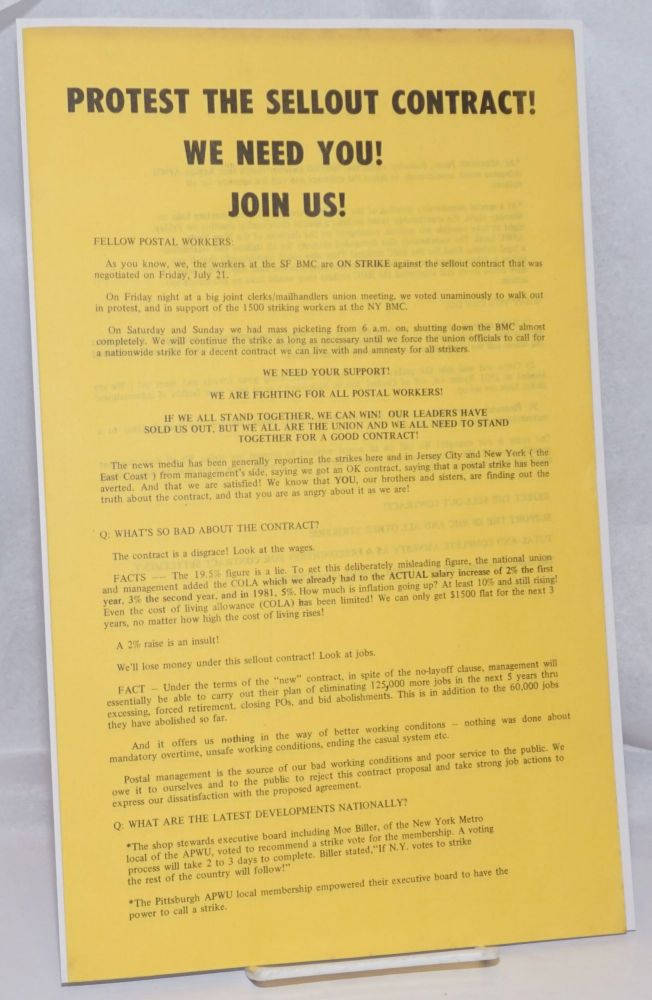 Protest the sellout contract! We need you! Join us! [handbill]
