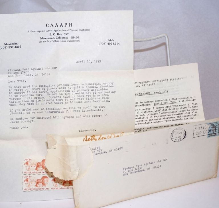 Phenoxy Herbicides: annotated bibliography - March 1979 [Folded mailing with cover letter addressed to Vietnam Veterans Against the War]. Citizens Against Aerial Application of Phenoxy Herbicides, CAAAPH.