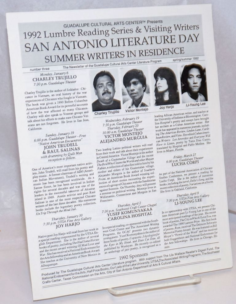 Guadalupe Cultural Arts Center Presents 1992 Lumbre Reading Series & Visiting Writers. San...
