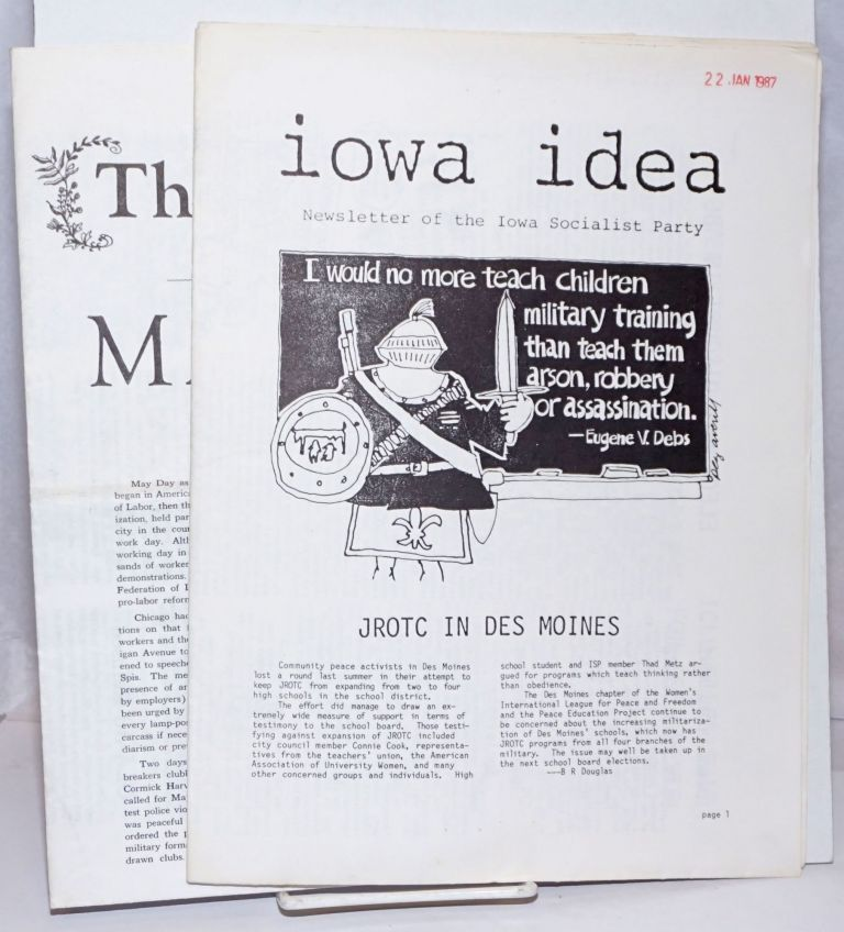Iowa Idea: Newsletter of the Iowa Socialist Party [two issues]