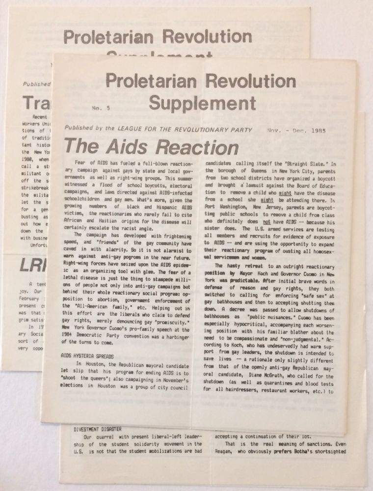 Proletarian Revolution Supplement [three issues]. League for the Revolutionary Party.