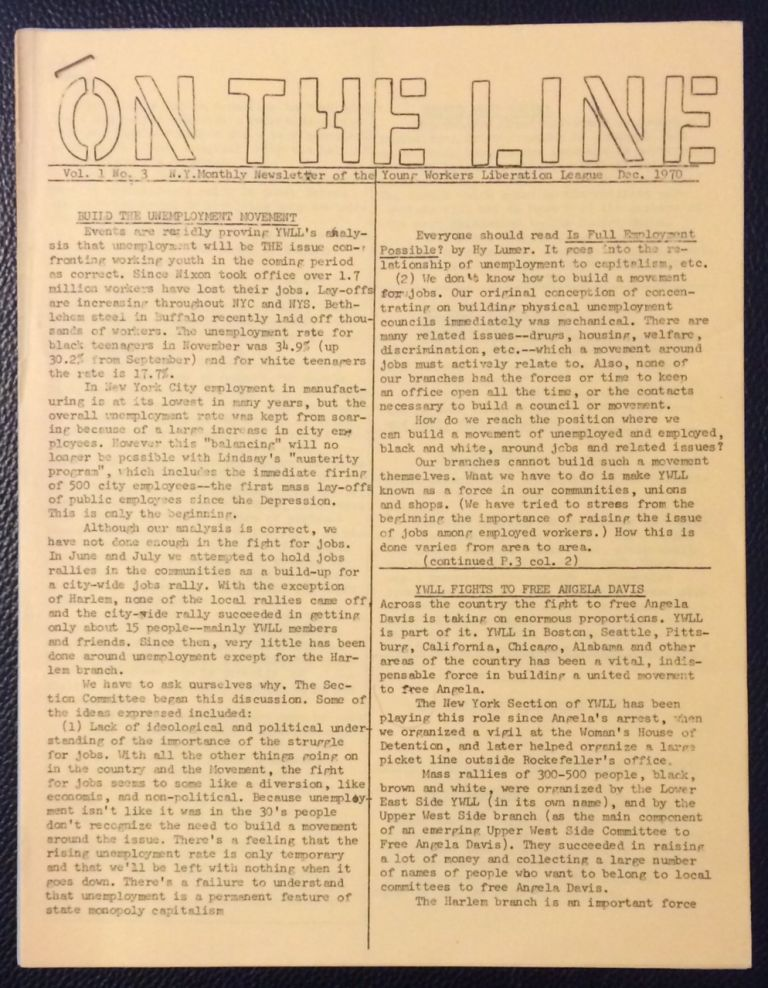 On the line. Vol. I no. 3 (Dce. 1970). Young Workers Liberation League.