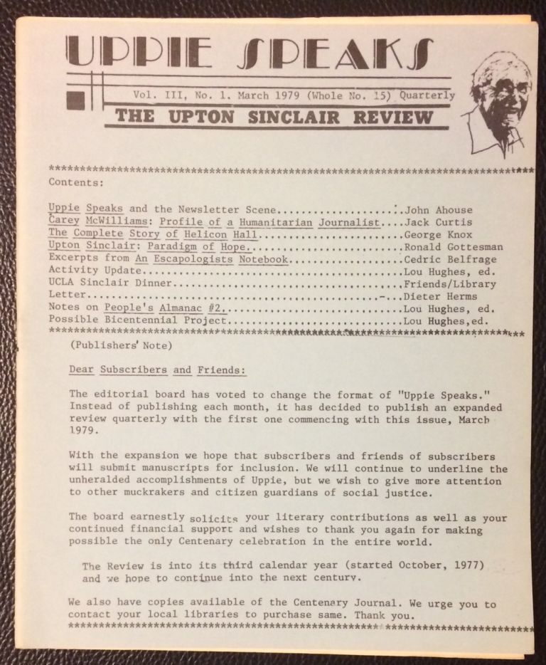 Uppie Speaks: the Upton Sinclair Review. Vol. 3 no. 1 (March 1979)