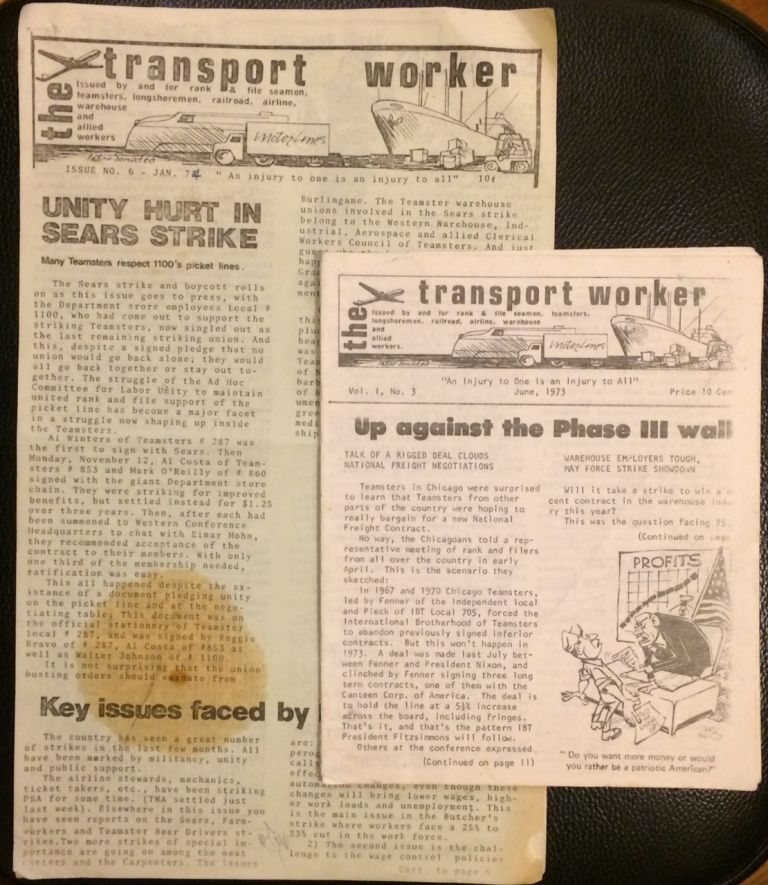 The Transport Worker: issued by and for rank & file seamen, teamsters, longshoremen, railroad, airline, warehouse and allied workers [two issues: No. 3 and 6]