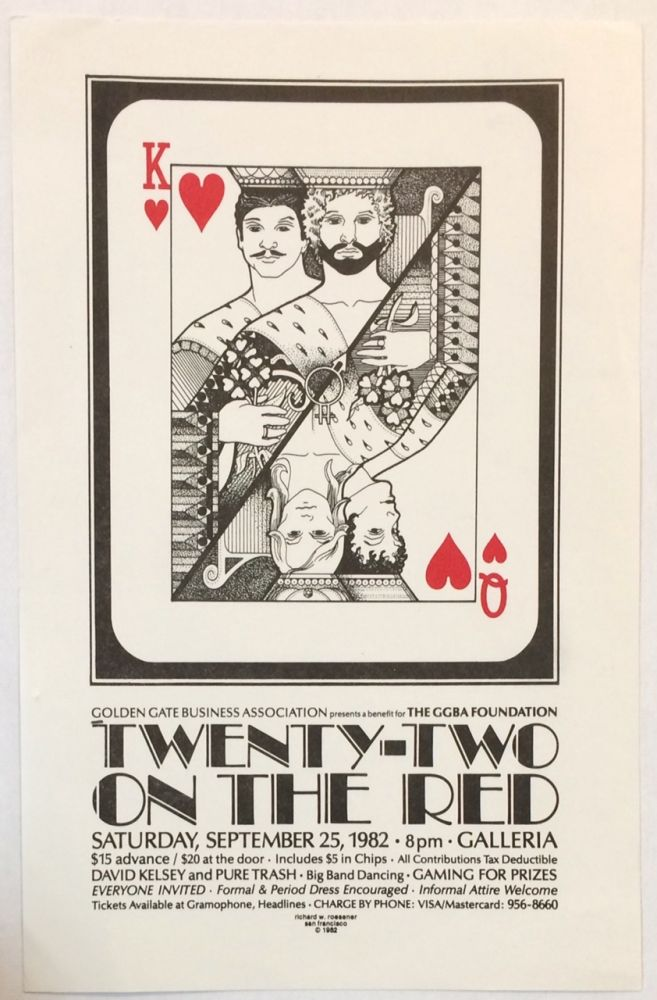 Golden Gate Business Association presents a benefit for the GGBA Foundation: Twenty-Two on the Red. Saturday, September 25, 1982. 8pm. Galleria [handbill]