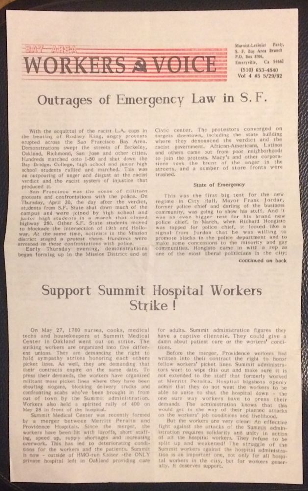 Bay Area Workers Voice. Vol. 4 no. 5 (5/29/1992). SF Bay Area Branch Marxist-Leninist Party.