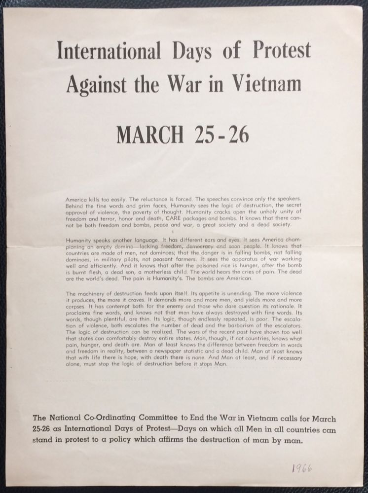 International Days of Protest Against the War in Vietnam: March 25-26