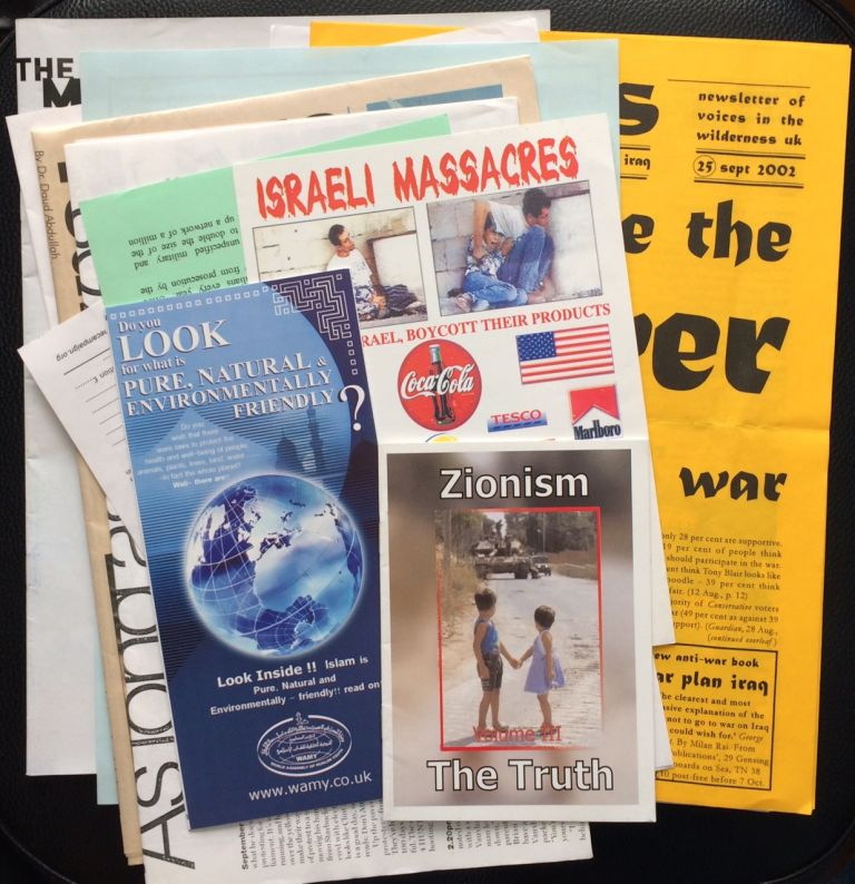 [Group of sixteen items collected at the March for Justice, a Sept. 28, 2002 anti-war demonstration in London]