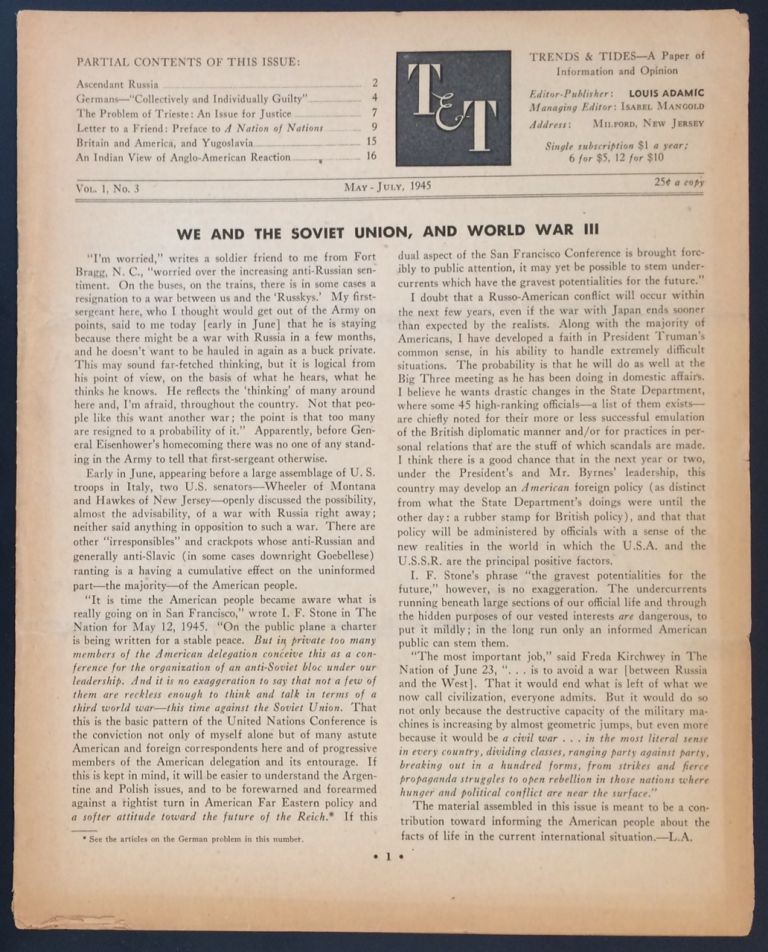 Trends and Tides. Vol. 1 no. 3 (May-July 1945