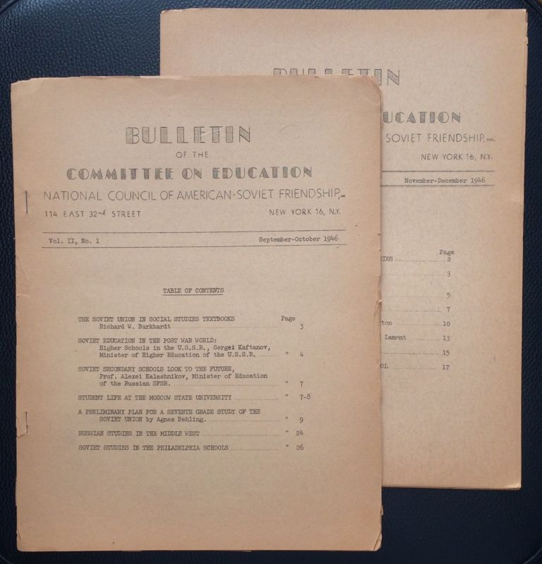 Bulletin of the Committee on Education, National Council of American-Soviet Friendship (two issues: Vol. 2 nos. 1 and 2)