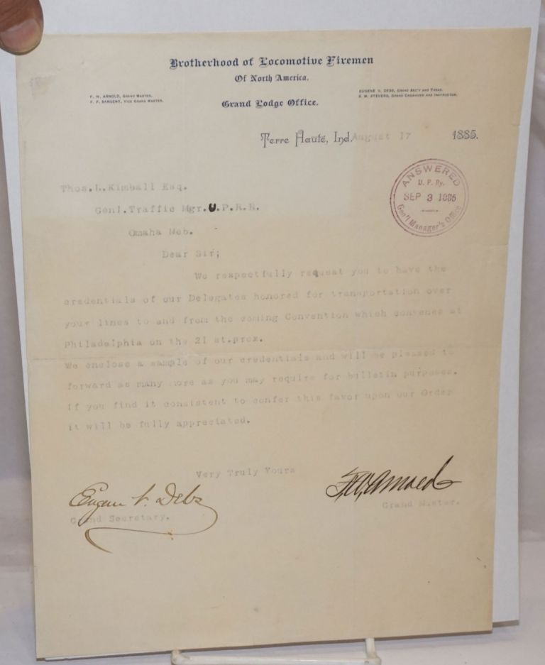 [Typed letter from Debs & Arnold to Thos. L. Kimball requesting the railroad honor Convention credentials for an upcoming union Convention. Letter dated August 17, 1885]. Eugene V. Debs, F W. Arnold.