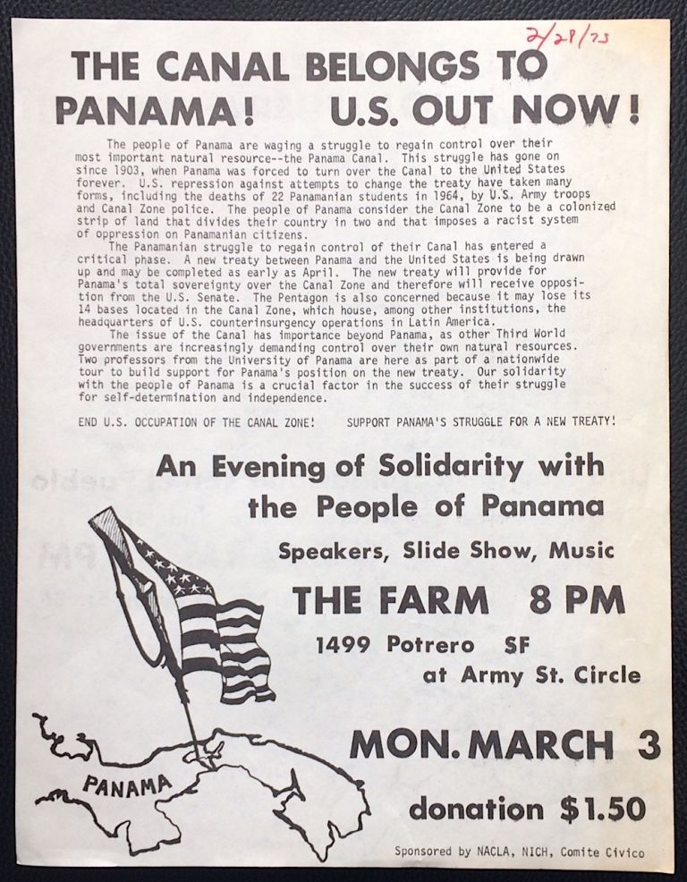 The Canal belongs to Panama! US out now! [handbill]
