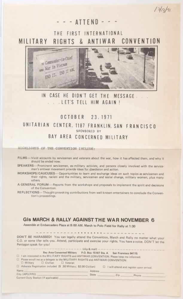 Attend the First International Military Rights and Antiwar Convention [handbill]