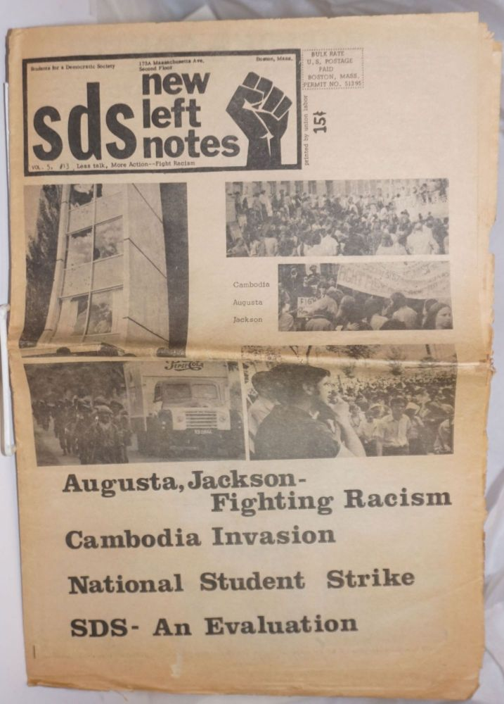 SDS new left notes, vol. 5, no. 13 (June 1970). Students for a. Democratic Society.
