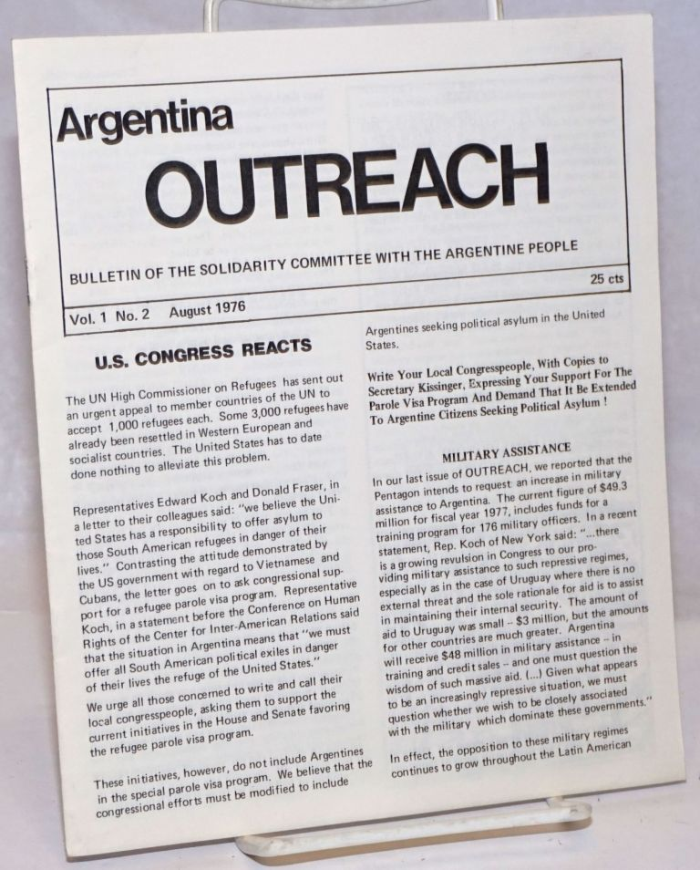 Argentina Outreach: Bulletin of the Solidarity Committee with the Argentine People; Vol. 1, No. 2, August 1976