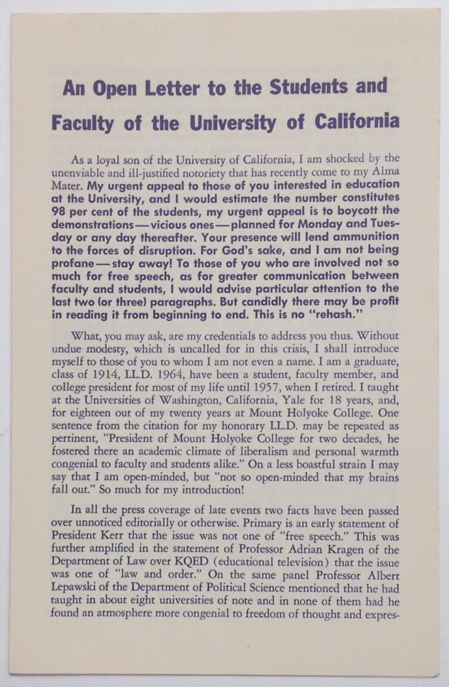 An open letter to the students and faculty of the University of California. Roswell G. Ham, Jr.