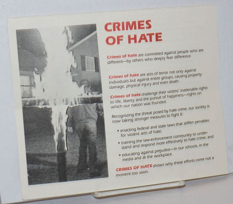 Crimes of Hate [brochure] a powerful new documentary video
