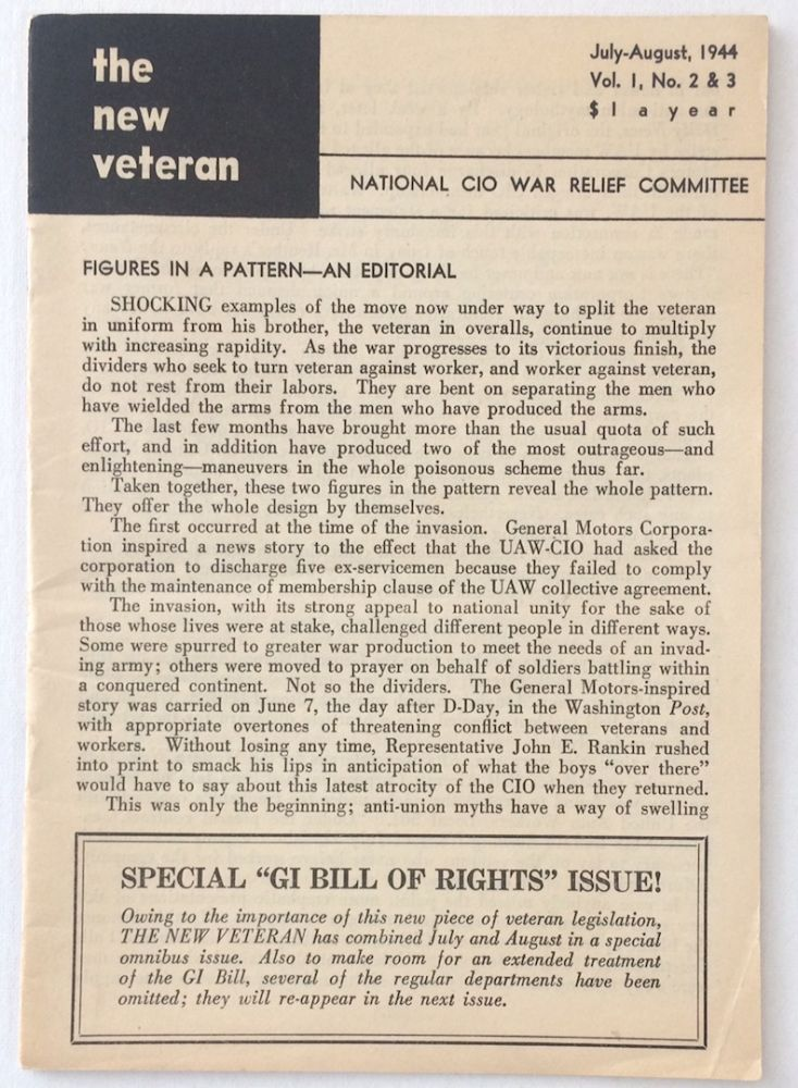 The New Veteran. Vol. 1, no. 2/3 (July-August 1944)