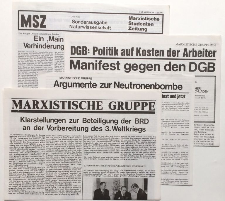 [Four items]. Marxistische Gruppe.