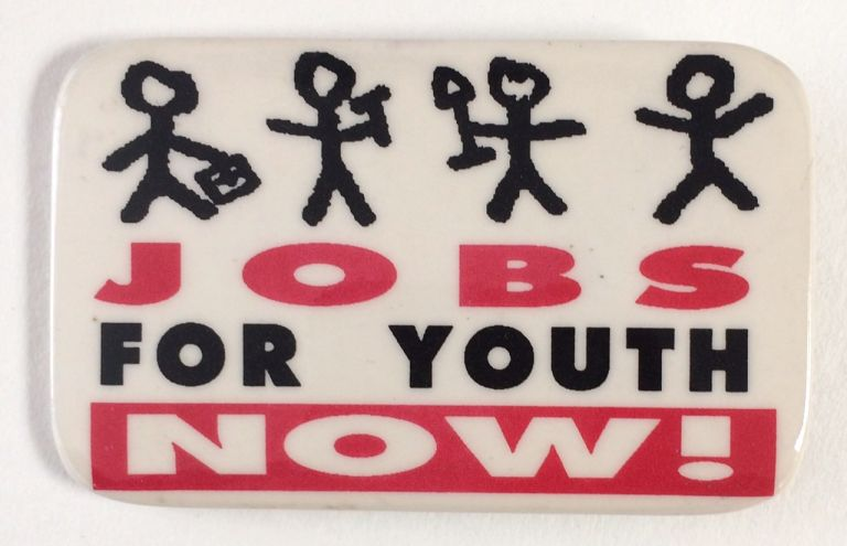 Jobs for youth now! [pinback button]