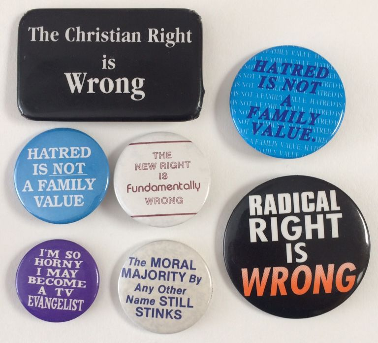 Group of seven pins opposing the Christian Right
