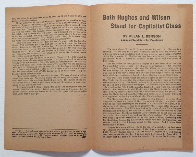 Both Hughes and Wilson stand for the Capitalist class. Allan L. Benson.
