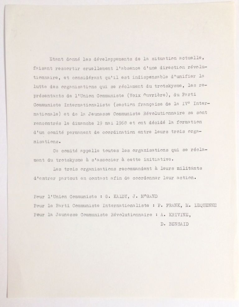 [Handbill announcing intent for the three Trotskyist organizations to work together in the midst of the May 1968 revolt]. L'Union Communiste, Le Parti Communiste Internationaliste, Jeunesse Communiste Révolutionnaire.