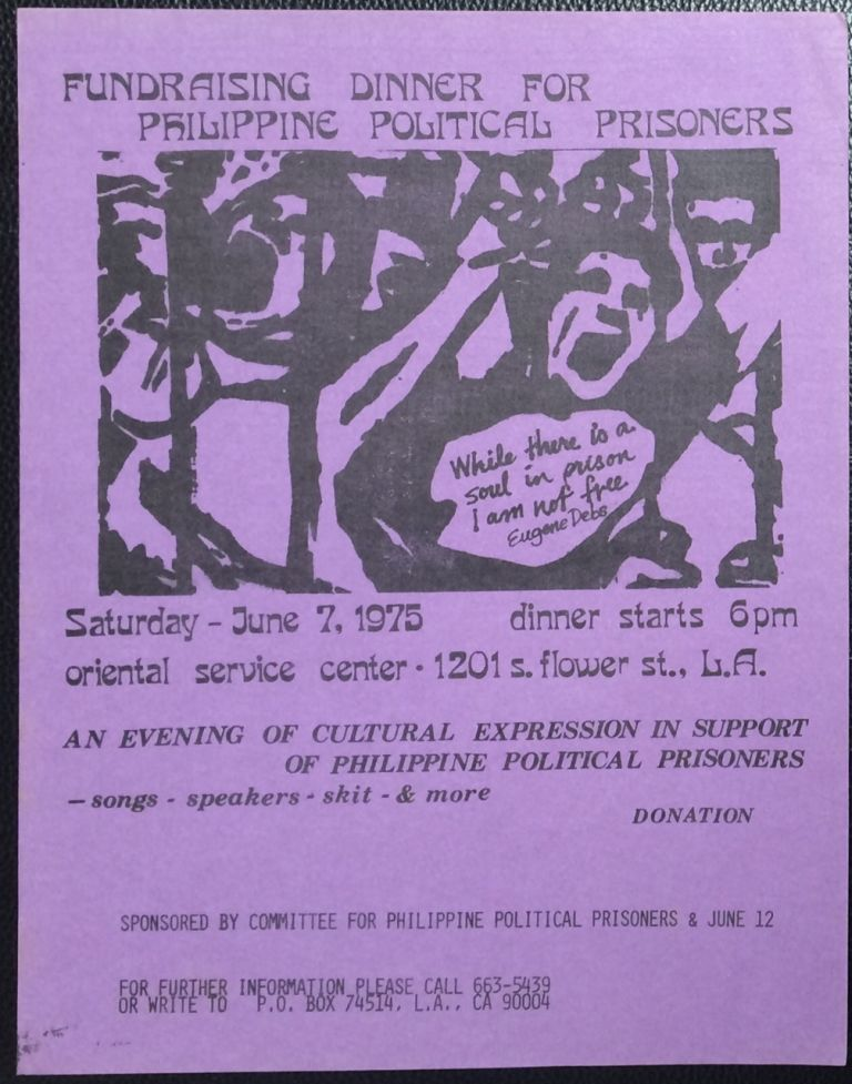Fundraising dinner for Philippine Political Prisoners [handbill