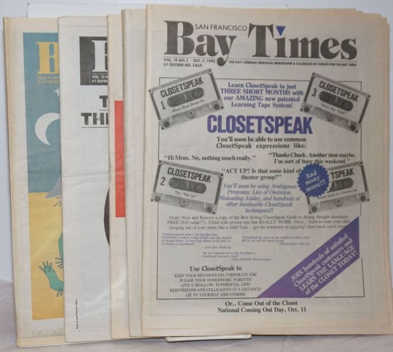 San Francisco Bay Times: the gay/lesbian/bisexual newspaper & calendar of events for the Bay Area; [aka Coming Up!] vol. 15, #1, Oct. 7 - December. 2, 1993 [5 issue run]. Kim Corsaro, Tommi Avicolli Mecca Tim Kingston, Dean Goodman, Alison Bechdel.