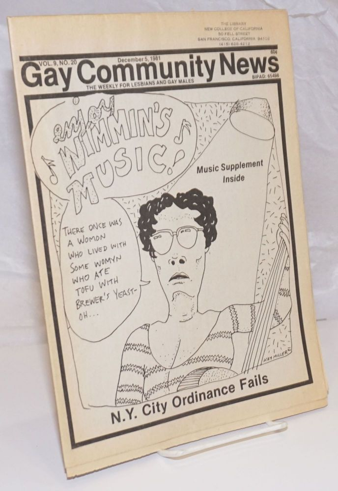 GCN: Gay Community News; the weekly for lesbians and gay males; vol. 9, #20, December 5, 1981; Enjoy Wimmin's Music; supplement. Amy Hoffman, David Morris, Cindy Patton, Philip Shehardie Scott Brookie, Michael Bronski, Jil Clark.