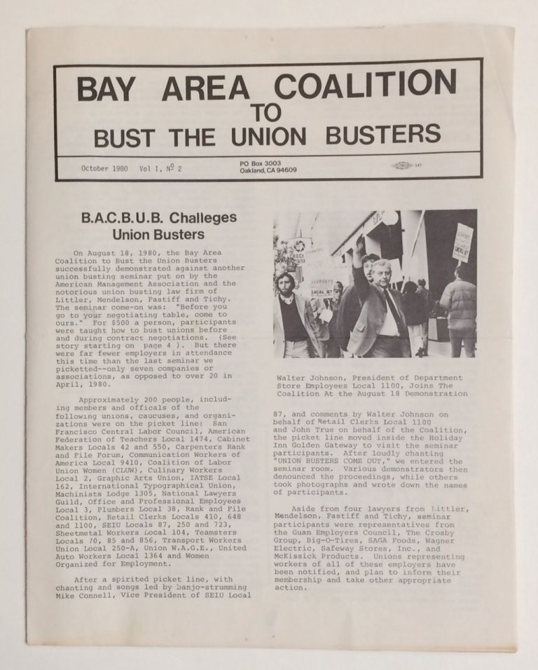 Bay Area Coalition to Bust the Union Busters. Vol. 1 no. 2 (October 1980)